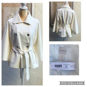 NWT Chico's  Retro Belted Ponte Jacket Size 2